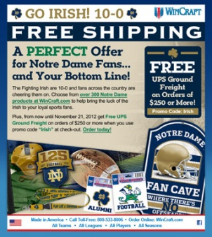 Free Shipping Notre Dame E-announcement designed for WinCraft.