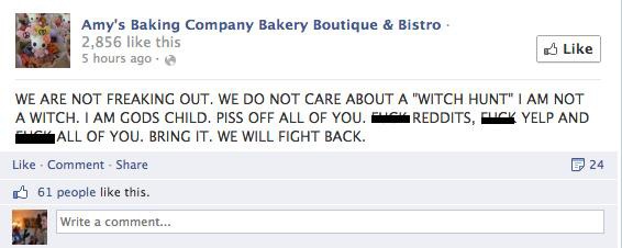 Amy's Baking Company - Facebook Meltdown