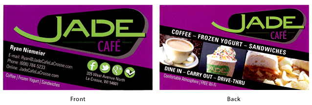Redesigned Jade Cafe business cards - front and back.