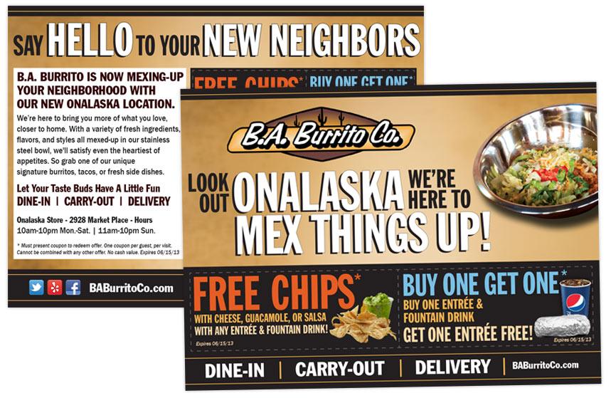 B.A. Burrito Co New Location Direct Mail