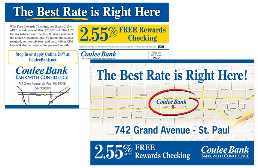 Coulee Bank Free Rewards Checking Direct Mail