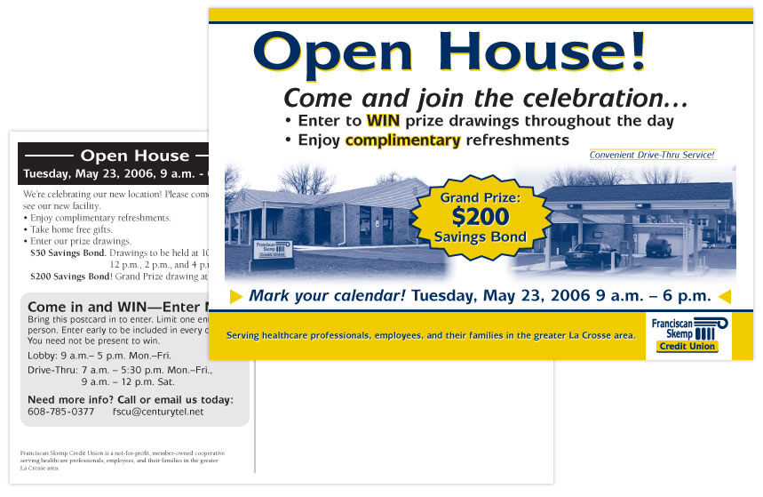 Franciscan Skemp Credit Union Open House Direct Mail
