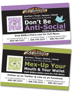 "B.A. Burrito ""Be Social"" Magnets with QR Codes"