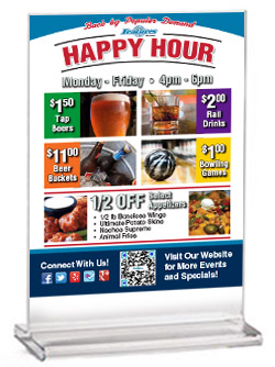 Happy Hour table tent for Features Sport Bar & Grill in West Salem, WI