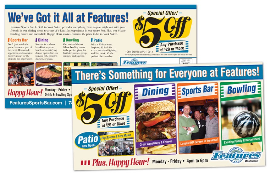 Features Sports Bar & Grill: $5 Off Direct Mail