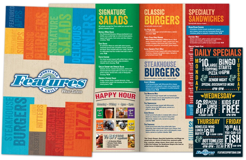Features Sports Bar and Grill - Menu and Daily Specials Card
