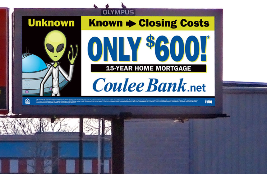 Coulee Bank: $600 Off Closing Costs Billboard
