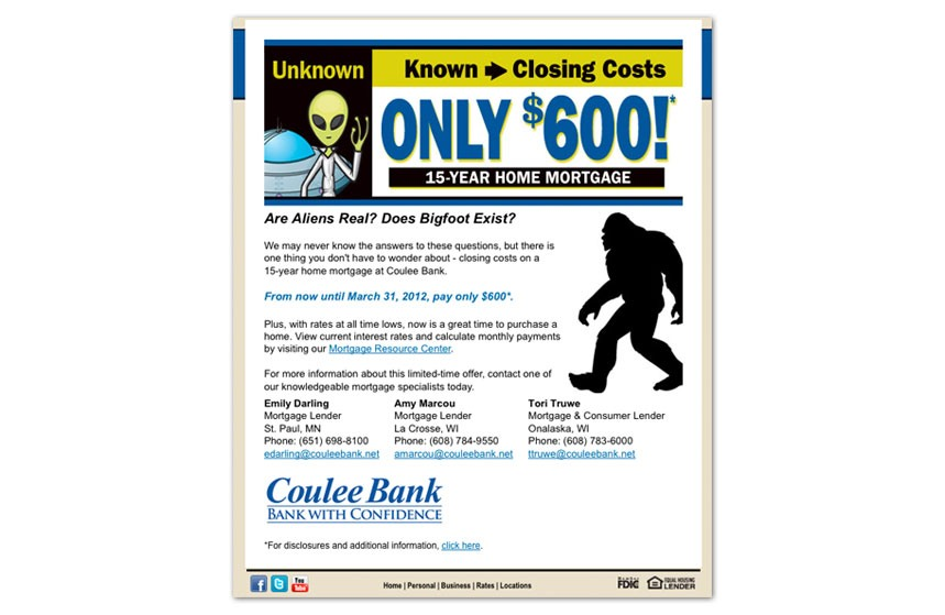 Coulee Bank: $600 Off Closing Costs E-Announcement