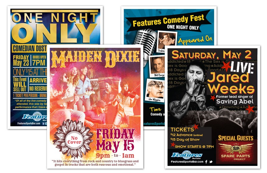 Features Sports Bar & Grill: Event Posters