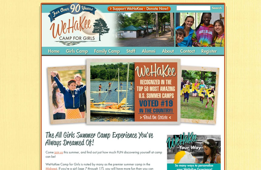 WeHaKee Camp for Girls: Website