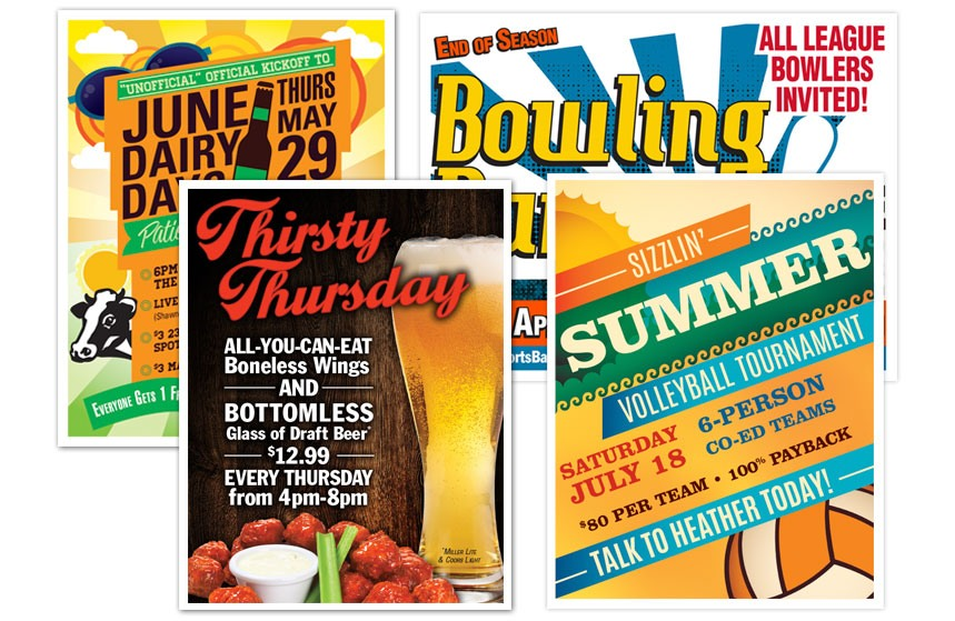 Features Sports Bar and Grill Event Posters