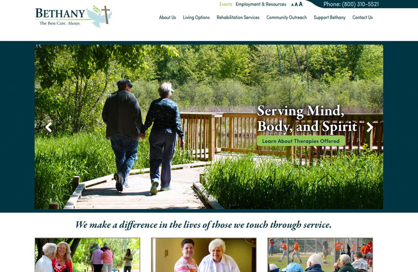 New website for Bethany in Waupaca, WI
