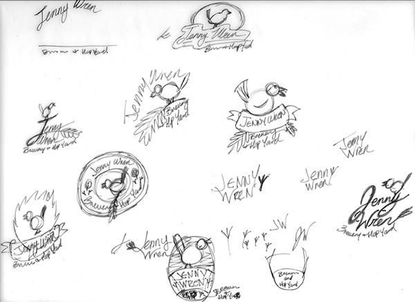 Jenny Wren - Logo Concept Sketches