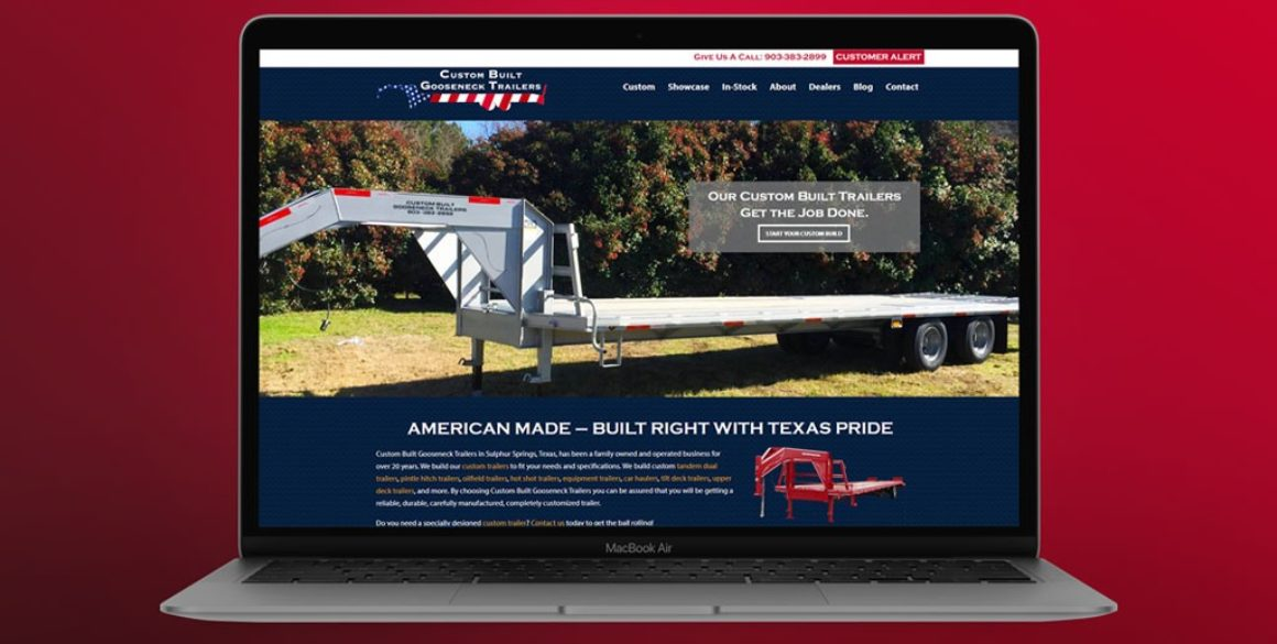The BLÜ Group website design for Custom Built Gooseneck Trailers (trailer manufacturer).