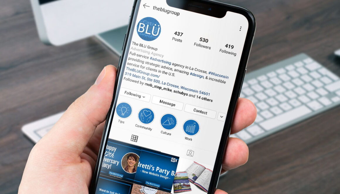 The BLÜ Group Instagram Profile on Mobile