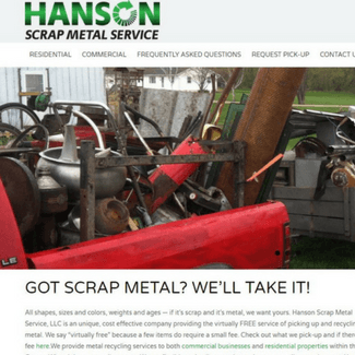 Hanson Scrap Metal Service Website