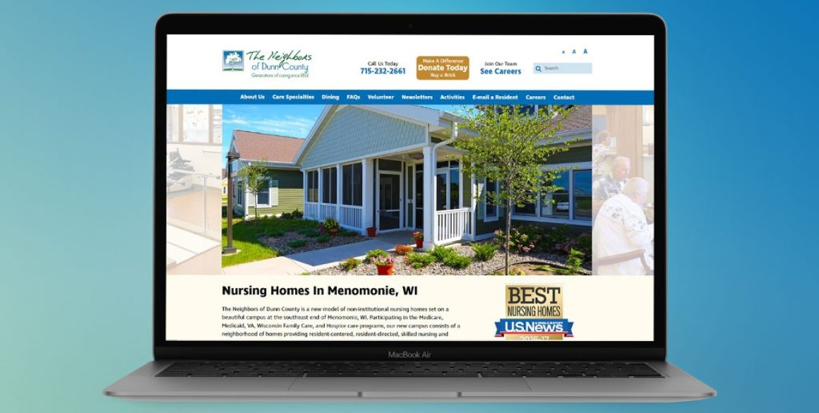 The BLÜ Group website design for The Neighbors of Dunn County (nursing home).