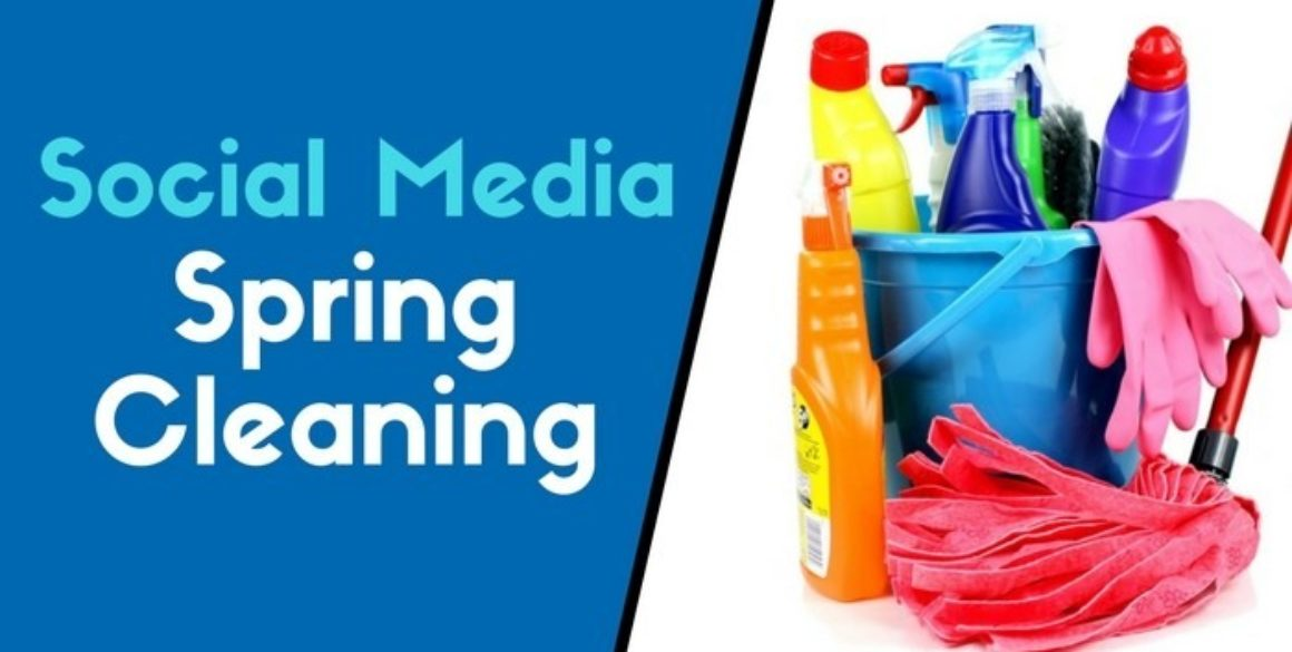 Cleaning products with the words Social Media Spring Cleaning