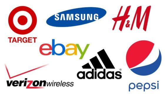 Collage of logos for Target, Samsung, H&M, Ebay, Verizon Wireless, Addidas, Pepsi