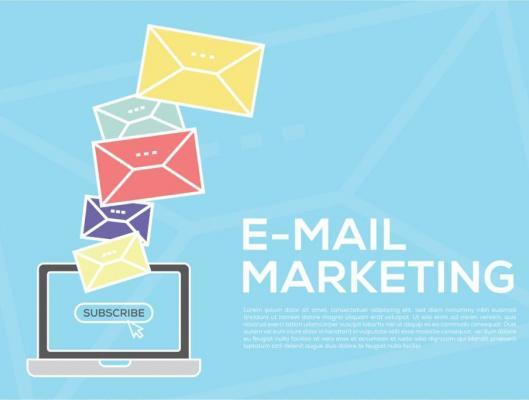 email-marketing-concept-with-laptop-on-blue-background-and-emails-of-different-colors-above-screen
