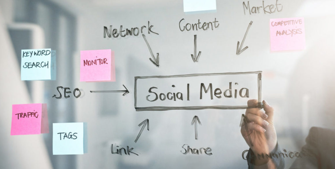 person-writing-social-media-concept-map-on-clear-dry-erase-board
