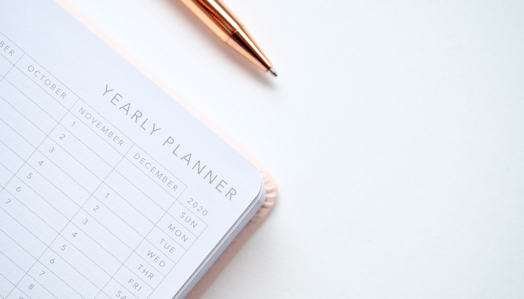 Yearly Planner and pen