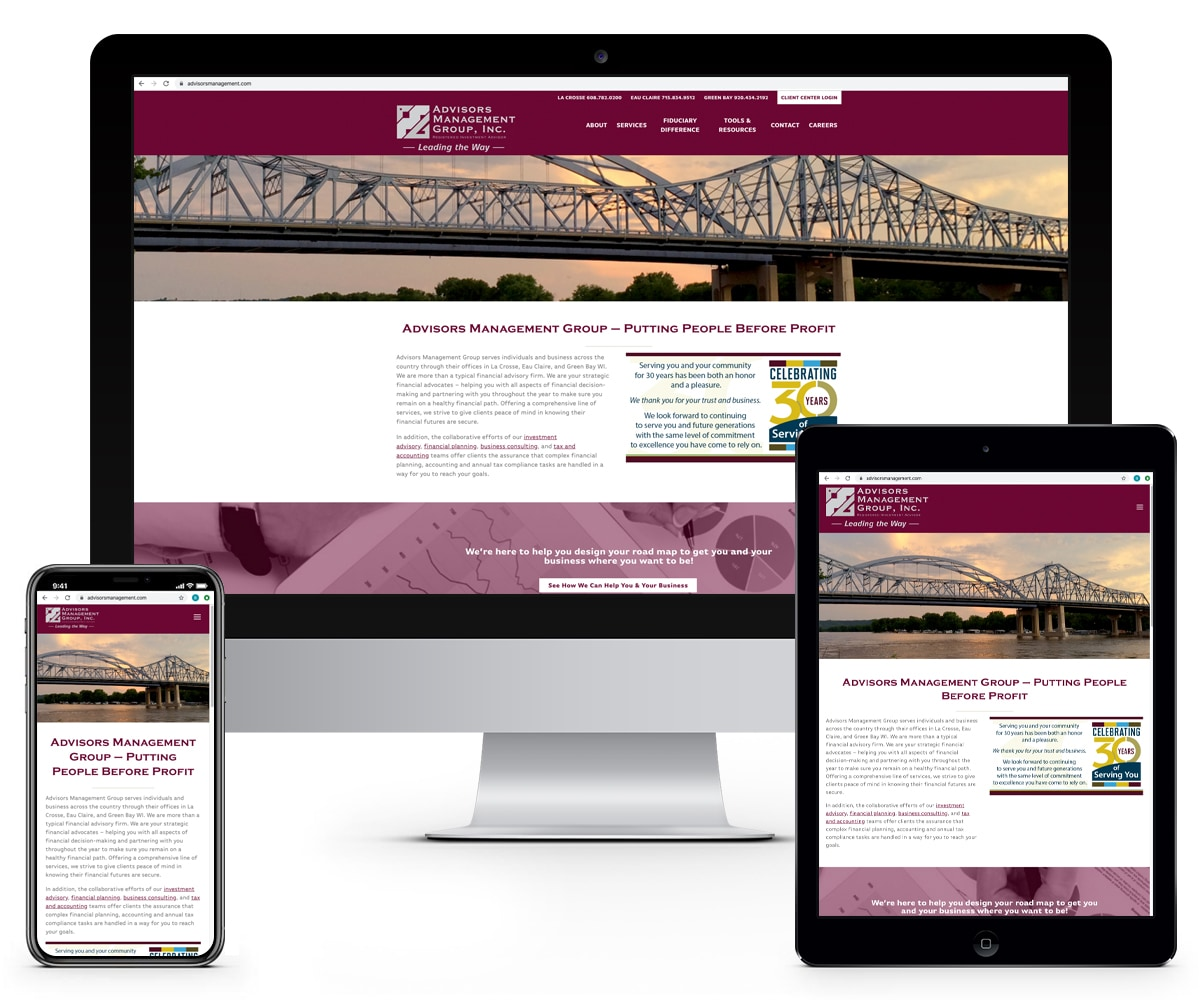 The BLÜ Group Client Work: Advisors Management Group - Website Mockups on Desktop, Tablet, and Phone