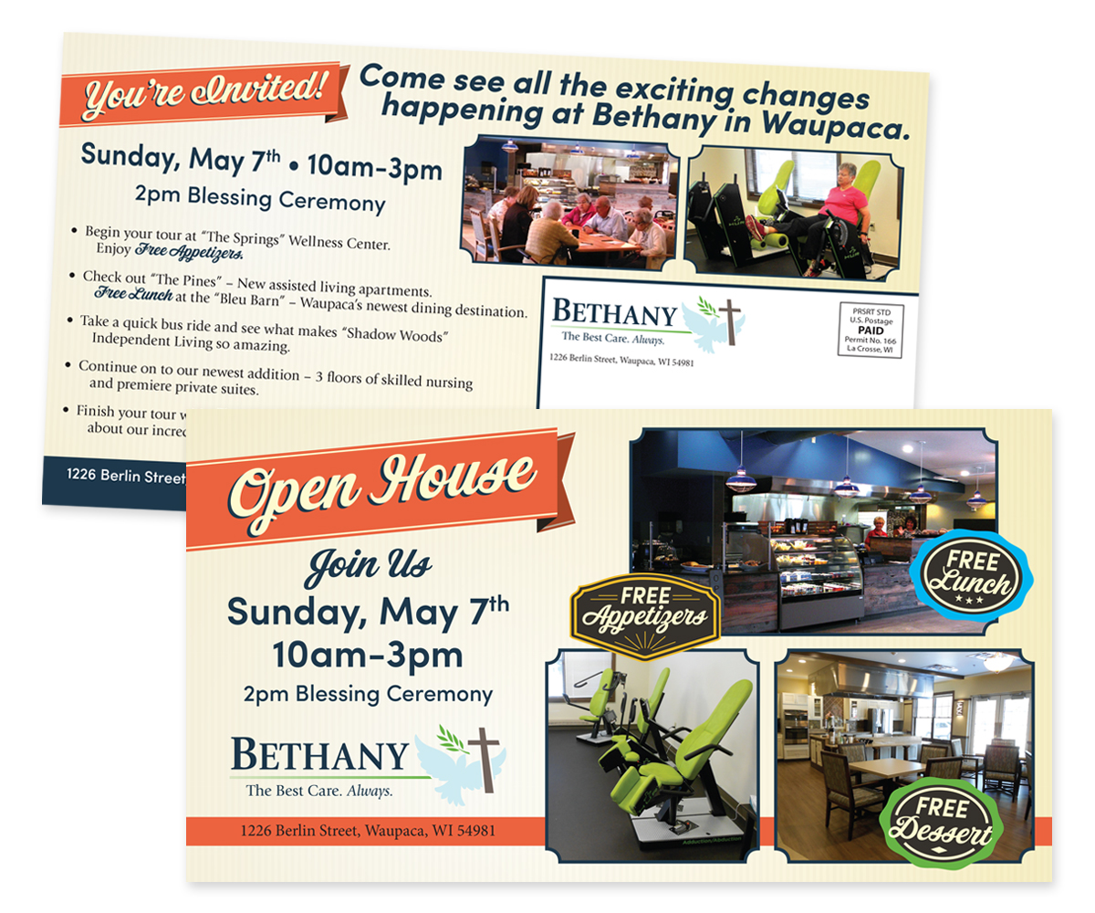 The BLU Group Client Work: Bethany - Open House Direct Mail