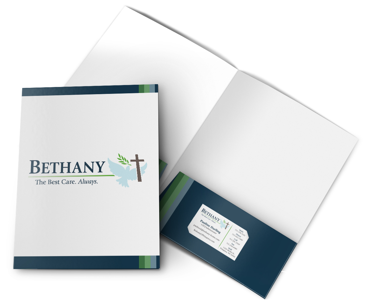 The BLU Group Client Work: Bethany - Folder with Business Card Insert