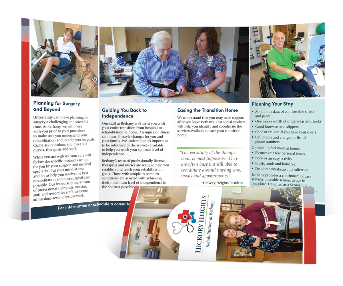 The BLU Group Client Work: Bethany - Hickory Heights Accordion Fold Brochure