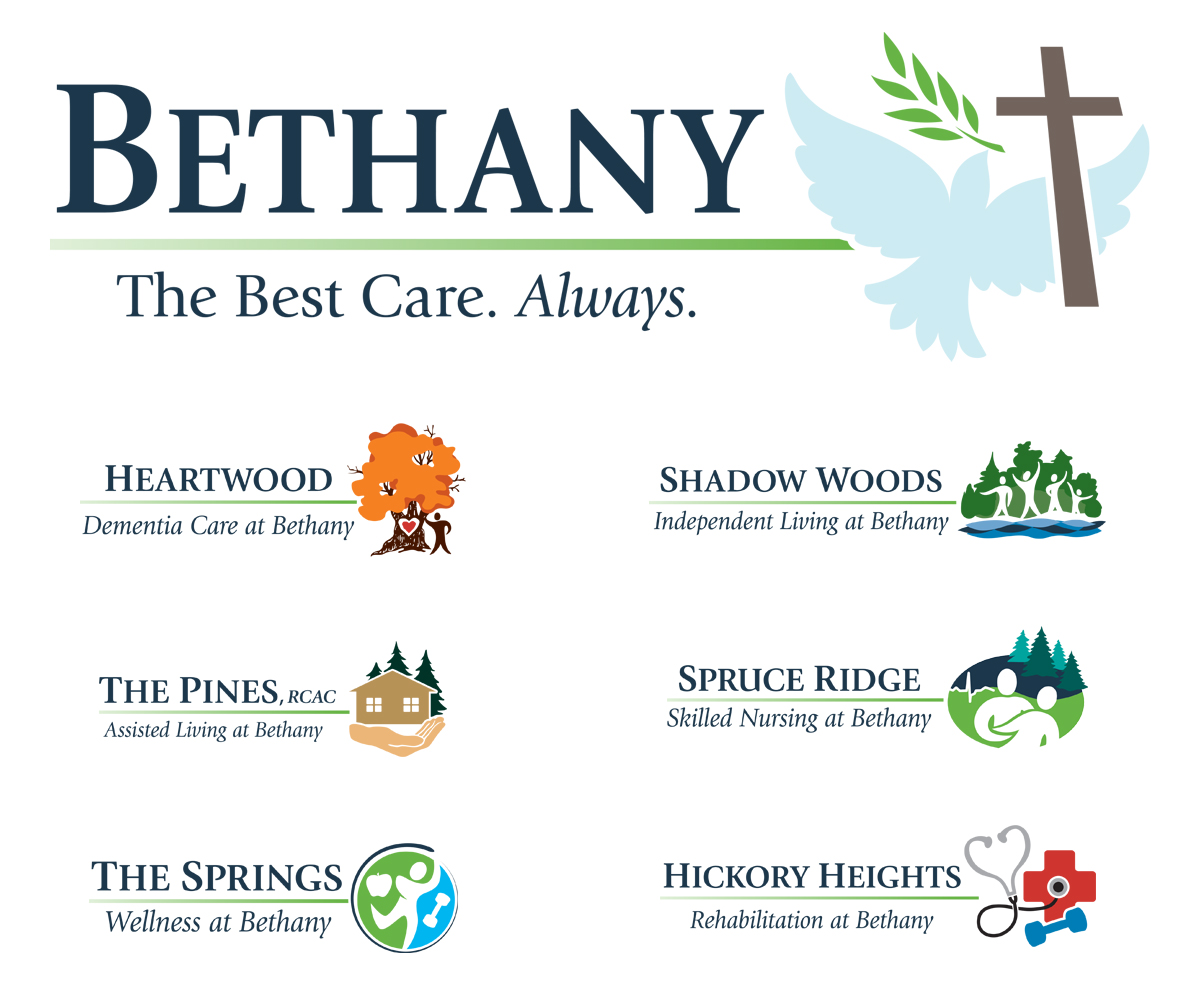 The BLU Group Client Work: Bethany - Logos for all of the services offered at Bethany