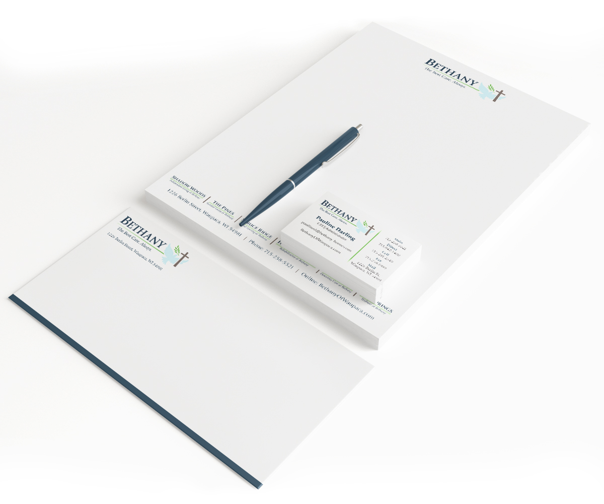 The BLU Group Client Work: Bethany - Letterhead, Envelope, and Business Card Stationery