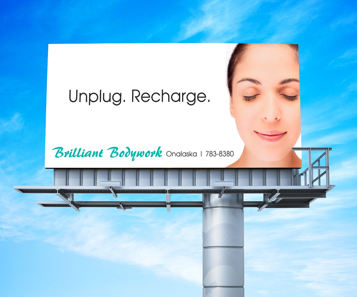 The BLÜ Group Client Work: Brilliant Bodywork - Unplug. Recharge. Billboard