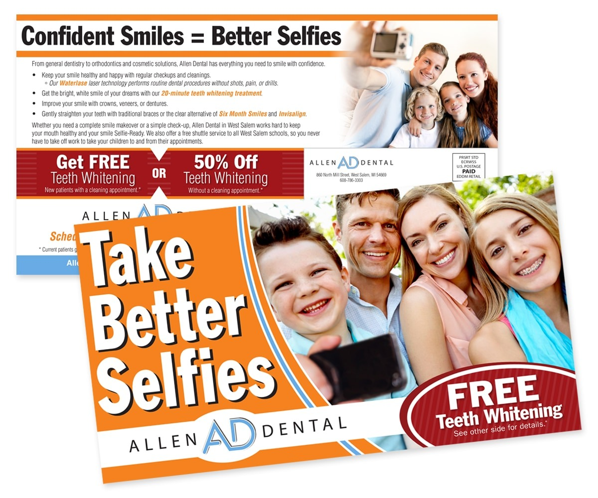 The BLÜ Group Client Work: Allen Dental - Take Better Selfies Direct Mail