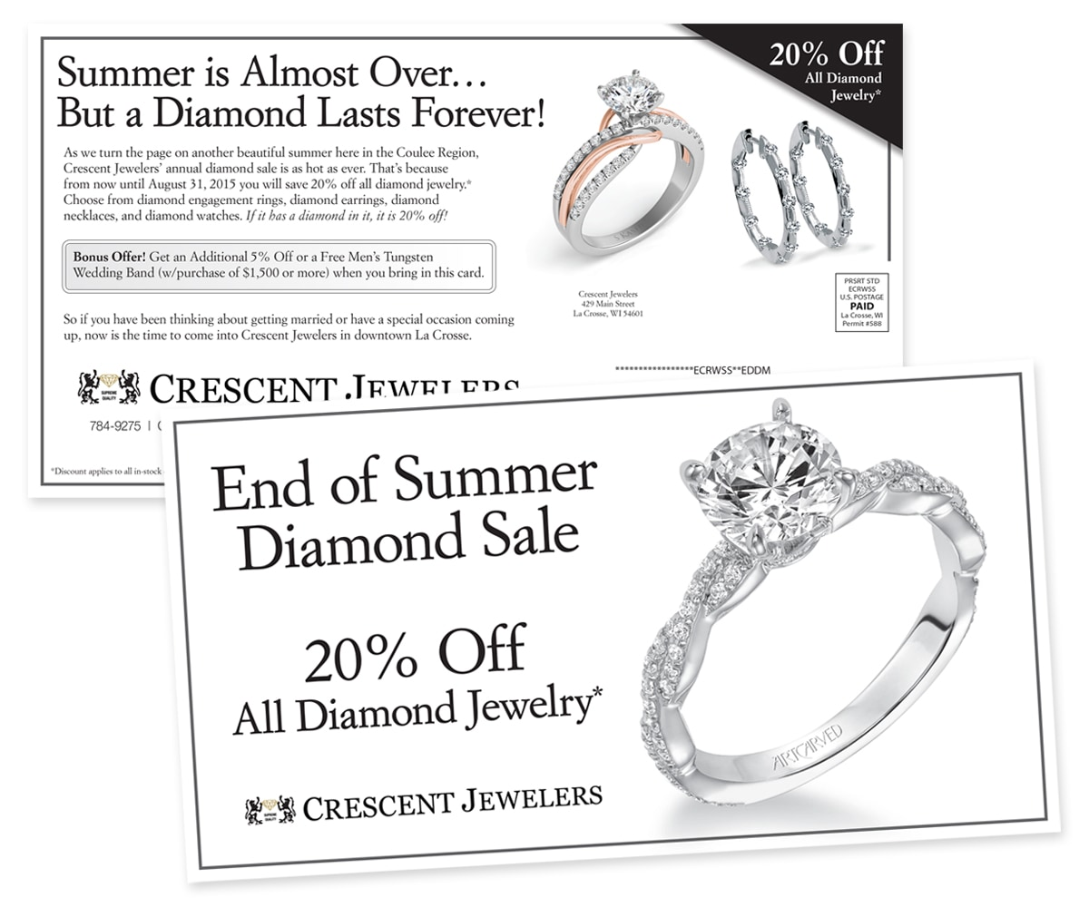 The BLÜ Group Client Work: Crescent Jewelers - End of Summer Diamond Sale Direct Mail