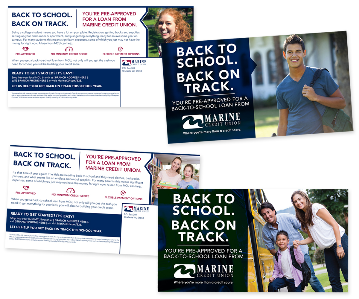 The BLU Group Client Work: Marine Credit Union - Back To School Direct Mail Campaign