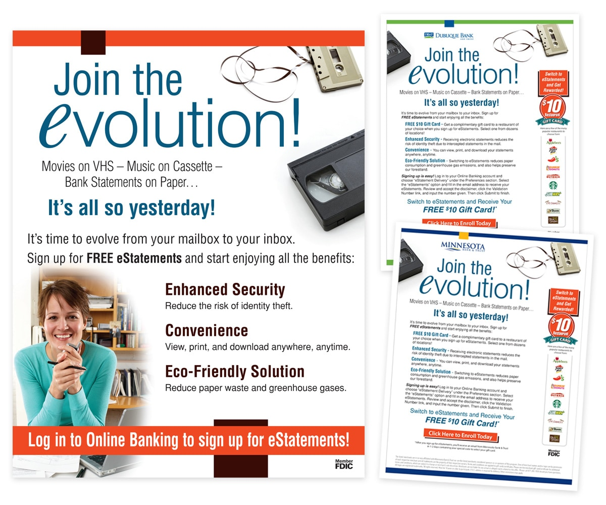 The BLÜ Group Client Work: eVolution to E-Statements Campaign Collateral - Poster and Landing Pages