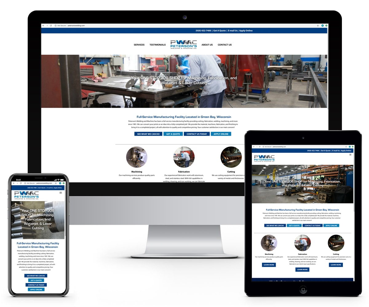 The BLÜ Group Client Work: Peterson's Welding and Machine - Website Mockups on Desktop, Tablet, and Phone