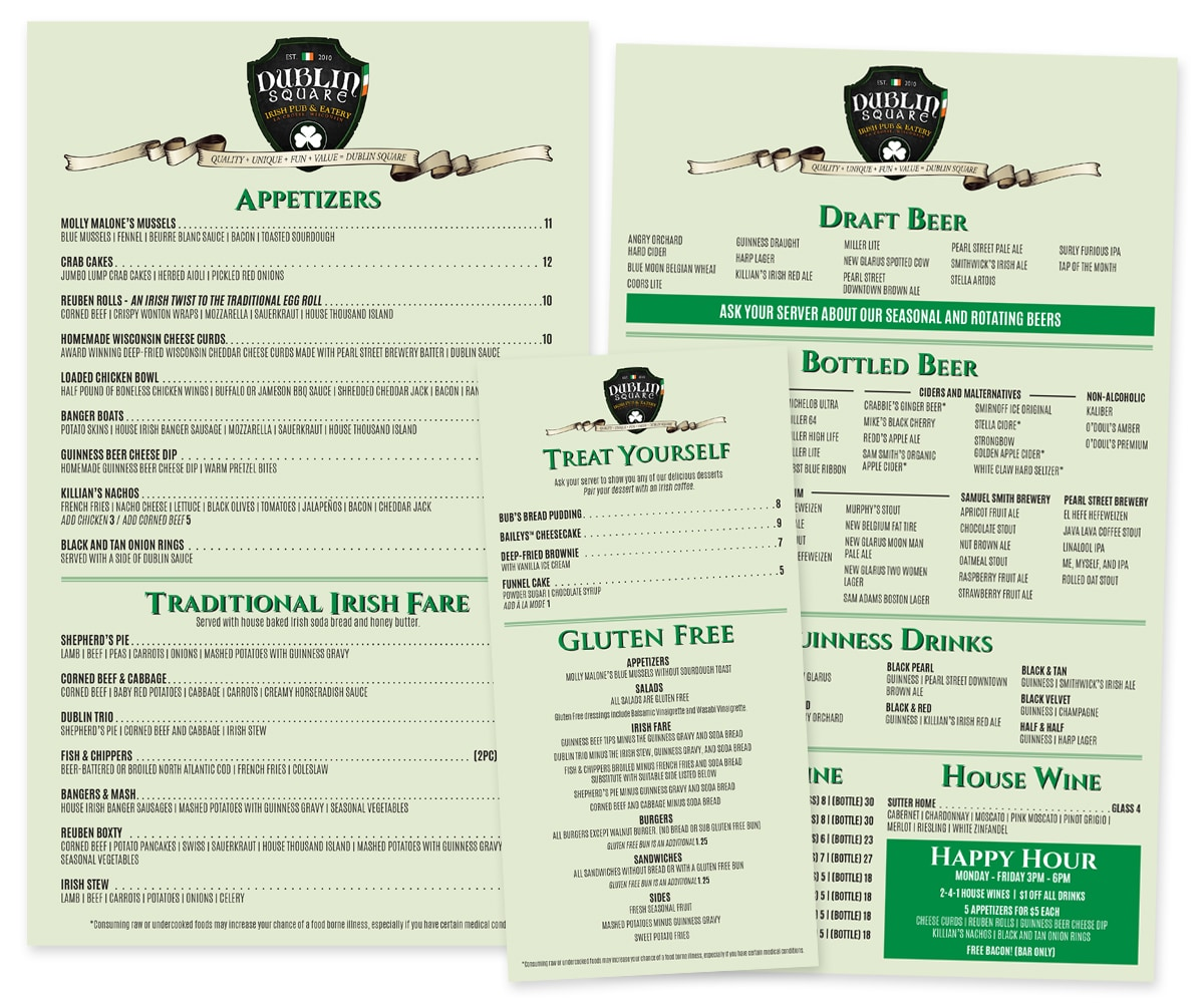 The BLÜ Group Client Work: Dublin Square Irish Pub and Eatery - Main, Drink, and Slugger Menu