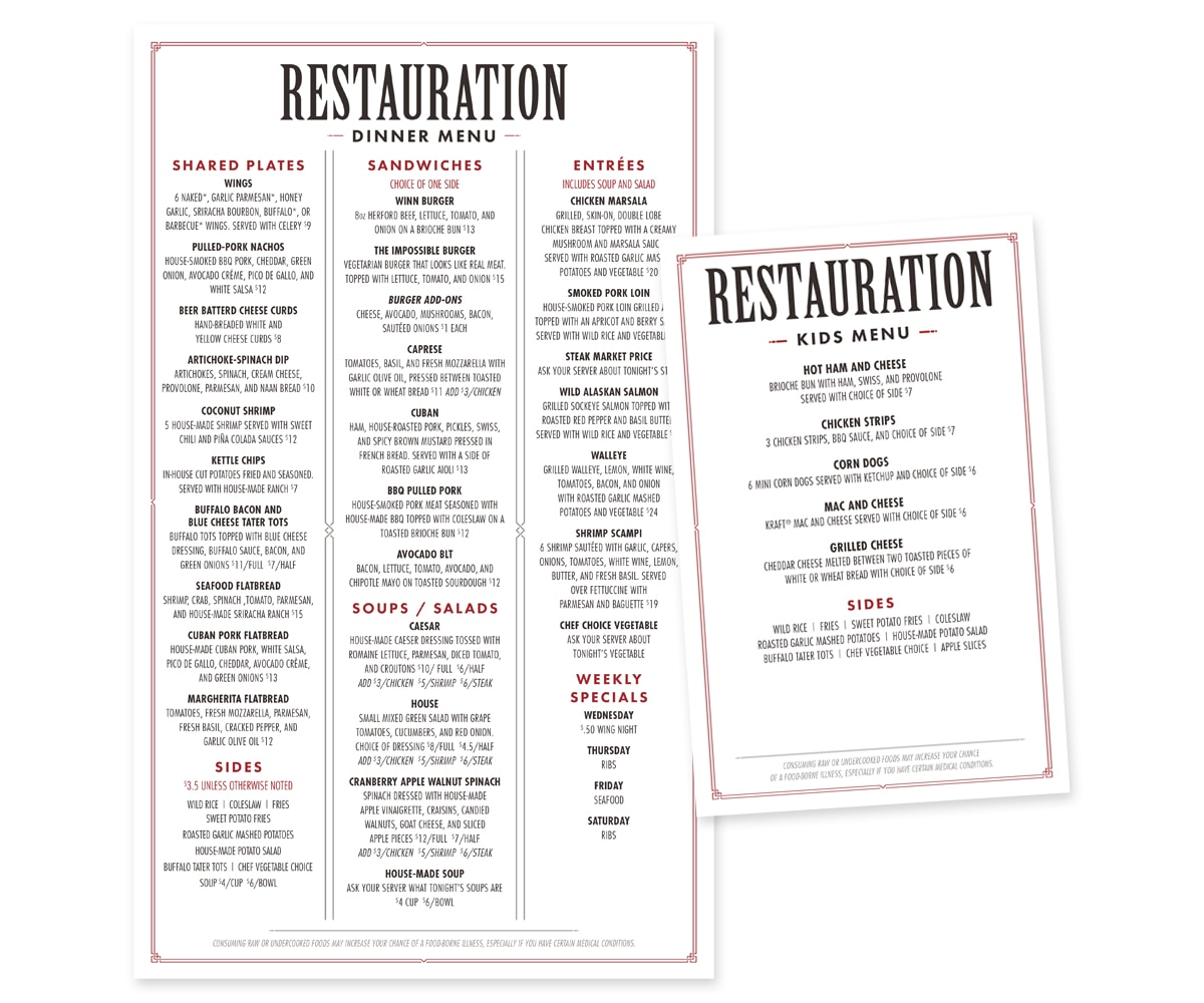 The BLÜ Group Client Work: Hotel Winneshiek - Restauration Menu