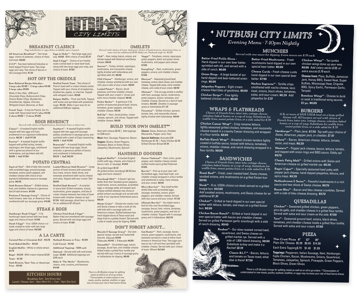 The BLÜ Group Client Work: Nutbush City Limits - Regular and Evening Menus