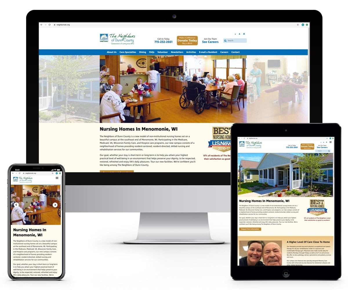 The BLÜ Group Client Work: The Neighbors of Dunn County - Website Mockups on Desktop, Tablet, and Phone