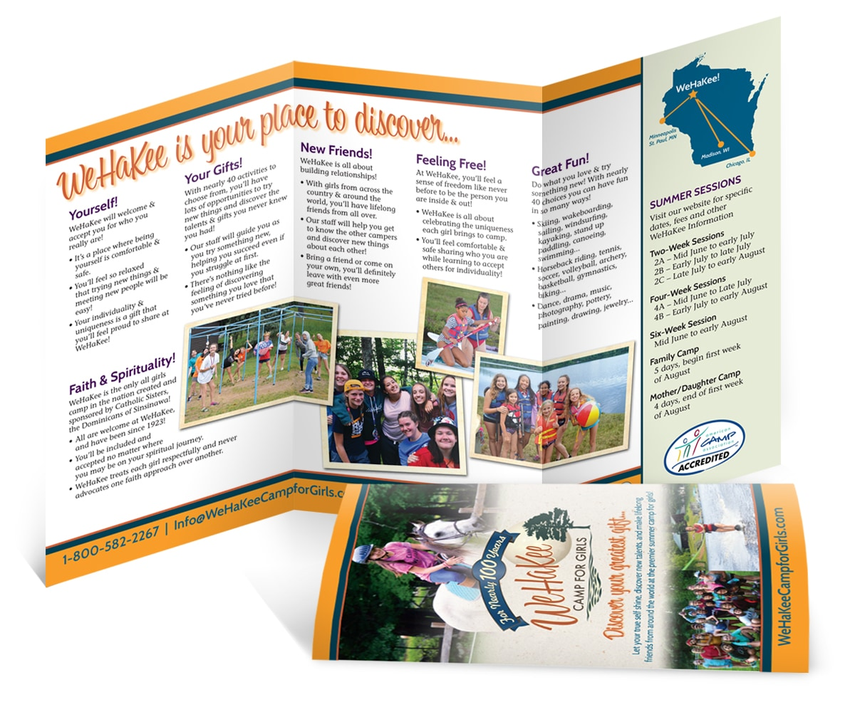 The BLÜ Group Client Work: WeHaKee Camp for Girls - General brochure about camp.