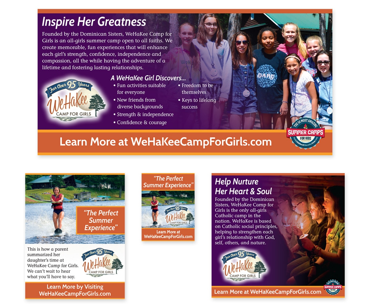 The BLÜ Group Client Work: WeHaKee Camp for Girls - Print Ads