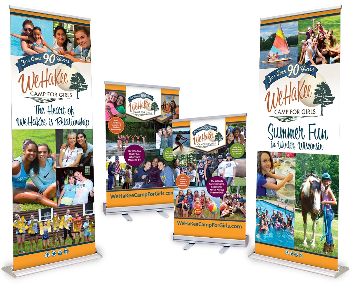 The BLÜ Group Client Work: WeHaKee Camp for Girls - Retractable Floor and Tabletop Tradeshow Banners
