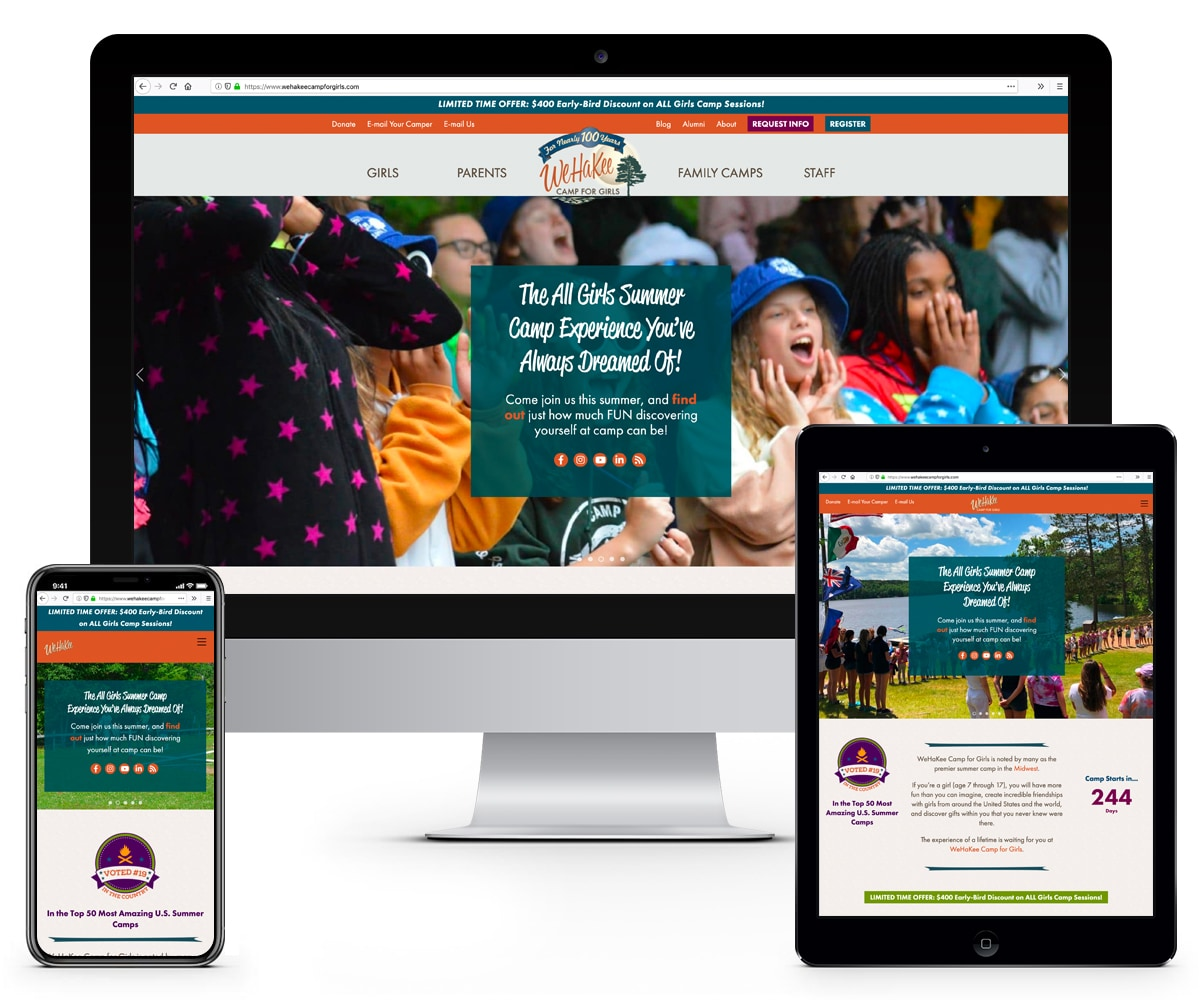 The BLÜ Group Client Work: WeHaKee Camp for Girls - Website Mockups on Desktop, Tablet, and Phone