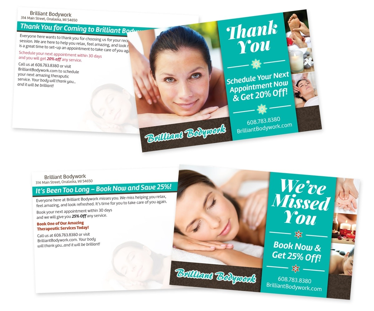 The BLÜ Group Client Work: Brilliant Bodywork - Thank You and Miss You Direct Mail