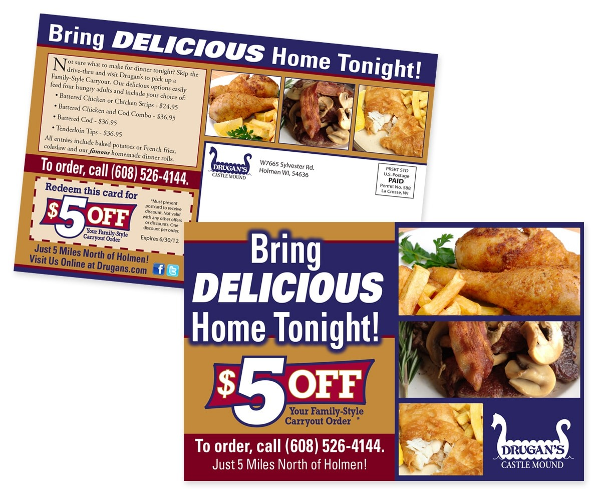 The BLÜ Group Client: Drugan's Castle Mound - Bring Delicious Home - Carryout Special Direct Mail