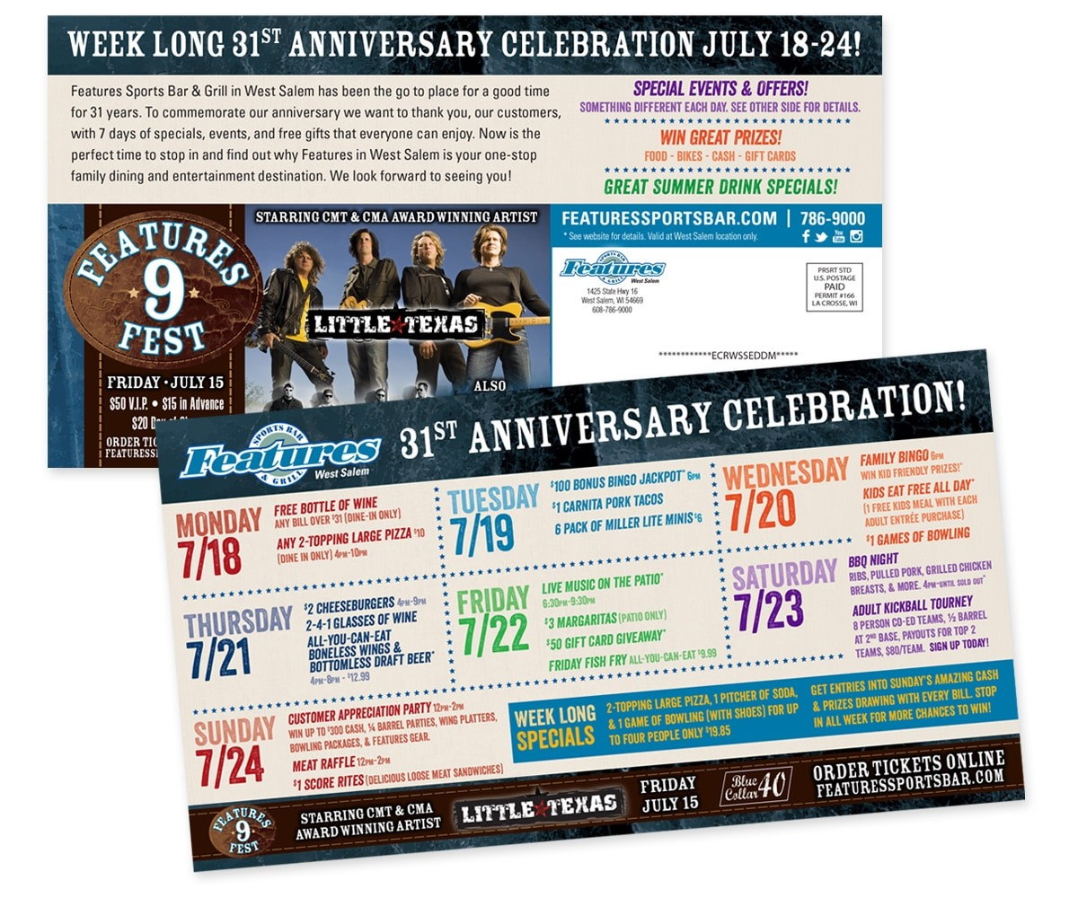 The BLÜ Group Client: Features Sports Bar & Grill in West Salem - Anniversary Celebration Direct Mail