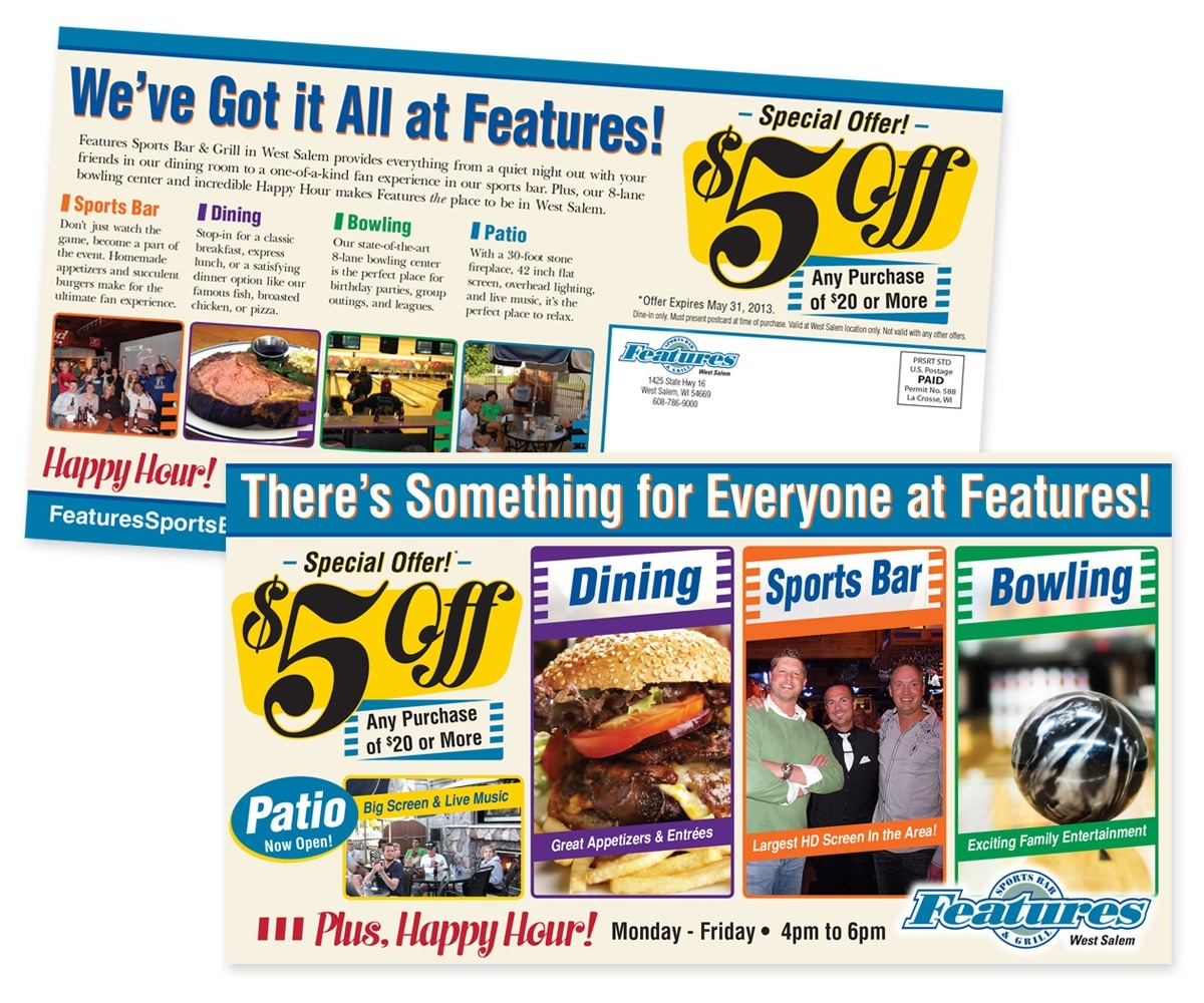 The BLÜ Group Client: Features Sports Bar & Grill in West Salem - Special Offer Direct Mail